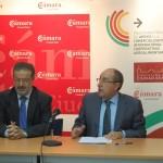 Nemesio de Lara, Presidente de la Diputación y Mariano León, Presidente de la Cámara en la presentación de la fase de formación de los titulados a las cooperativas